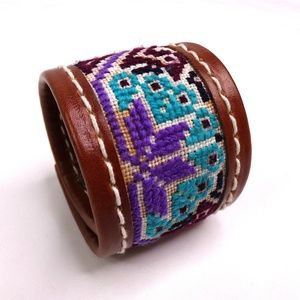 Leather Strap Bracelet with Embroidery
